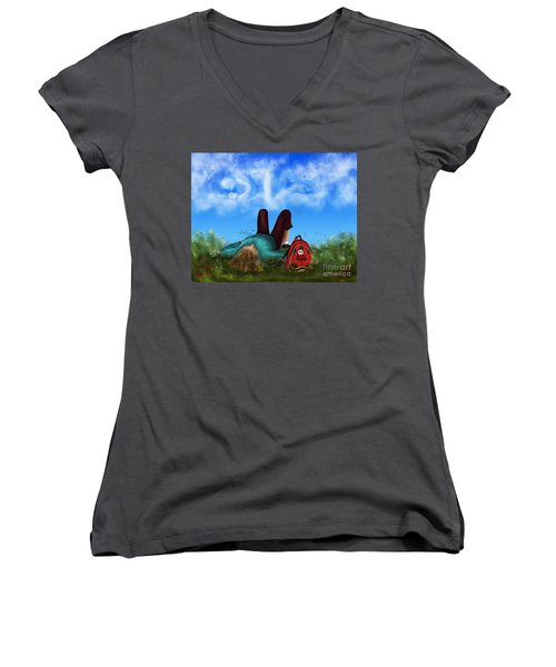 Women's V-Neck T-Shirt (Junior Cut) featuring the digital art Daydreaming by Rosa Cobos