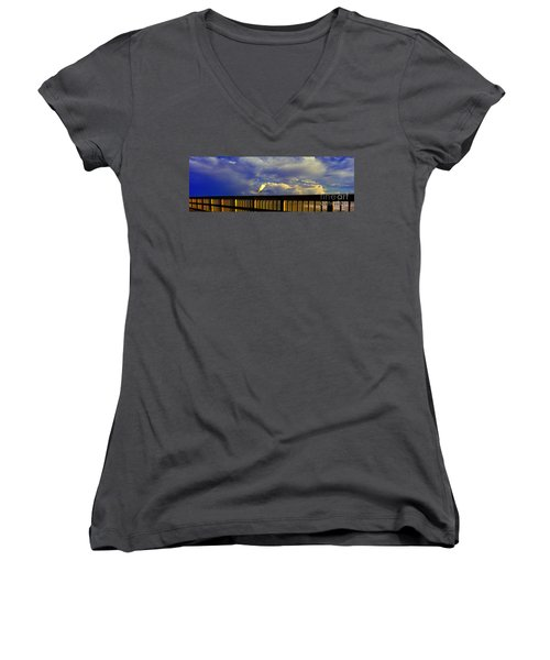 Daytona Beach Rail Bird Sun Glow Pier  Women's V-Neck