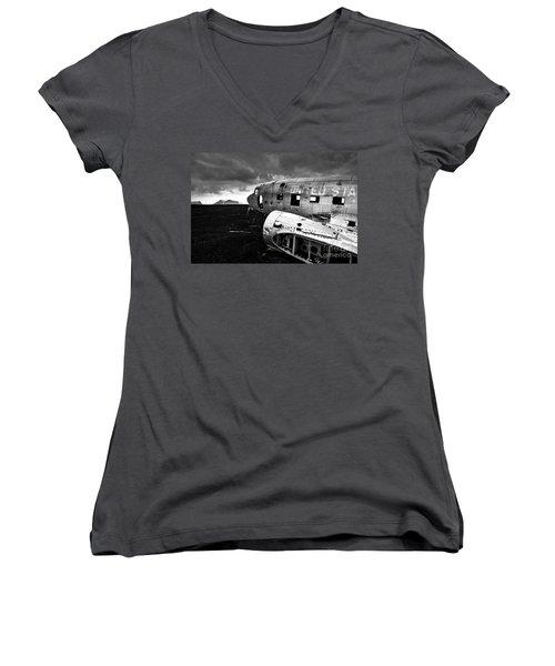 Women's V-Neck T-Shirt (Junior Cut) featuring the photograph Dc-3 Iceland by Gunnar Orn Arnason