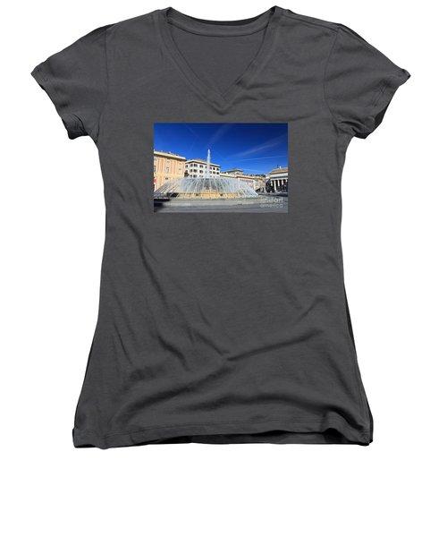 De Ferrari Square - Genova Women's V-Neck T-Shirt (Junior Cut) by Antonio Scarpi