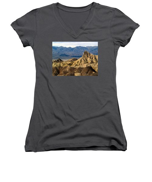 Death Valley Np Zabriskie Point 11 Women's V-Neck T-Shirt (Junior Cut) by Jeff Brunton