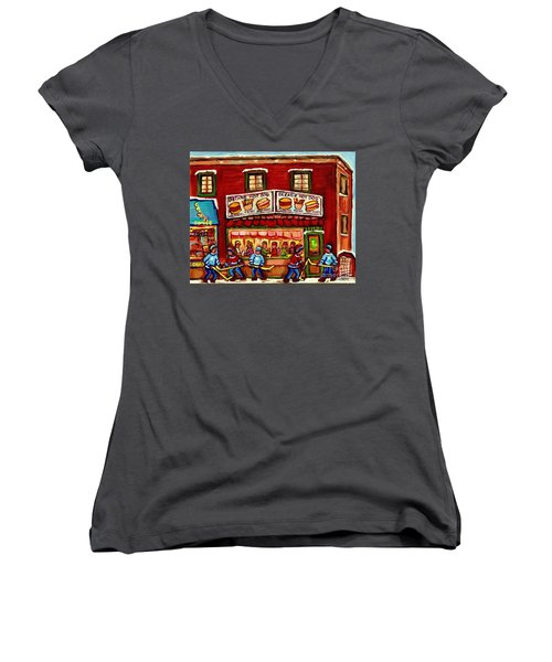 Decarie Hot Dog Restaurant Cosmix Comic Store Montreal Paintings Hockey Art Winter Scenes C Spandau Women's V-Neck (Athletic Fit)