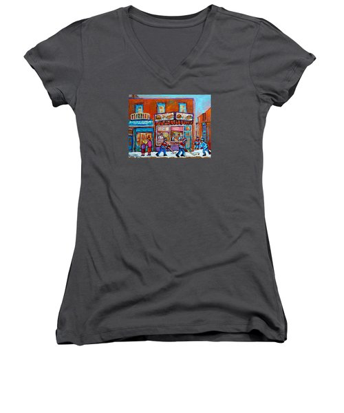Decarie Hot Dog Restaurant Ville St. Laurent Montreal  Women's V-Neck T-Shirt