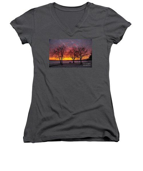 Women's V-Neck T-Shirt (Junior Cut) featuring the photograph December Sunset by Terri Gostola