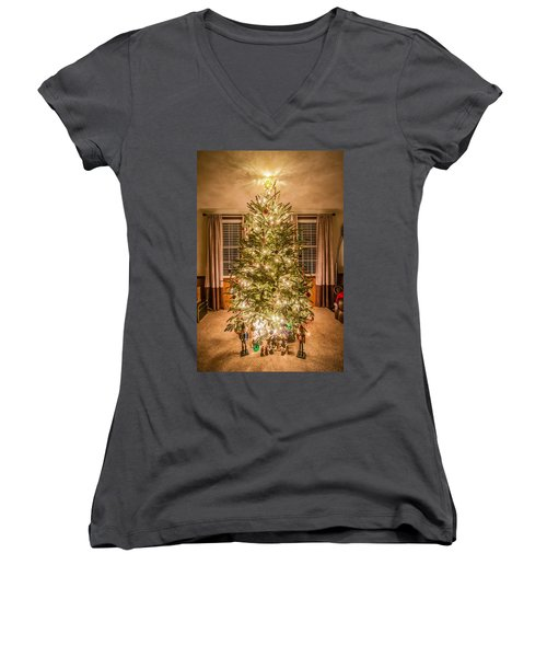 Women's V-Neck T-Shirt (Junior Cut) featuring the photograph Decorated Christmas Tree by Alex Grichenko