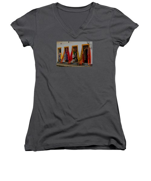 Women's V-Neck T-Shirt (Junior Cut) featuring the photograph Decorated Doorways by Nareeta Martin