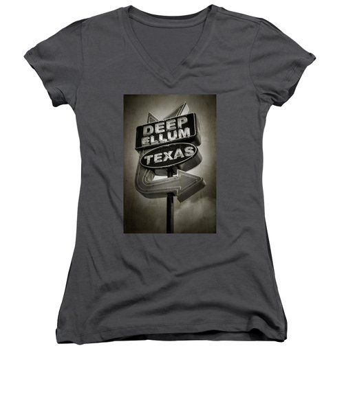Deep Ellum Women's V-Neck T-Shirt (Junior Cut)