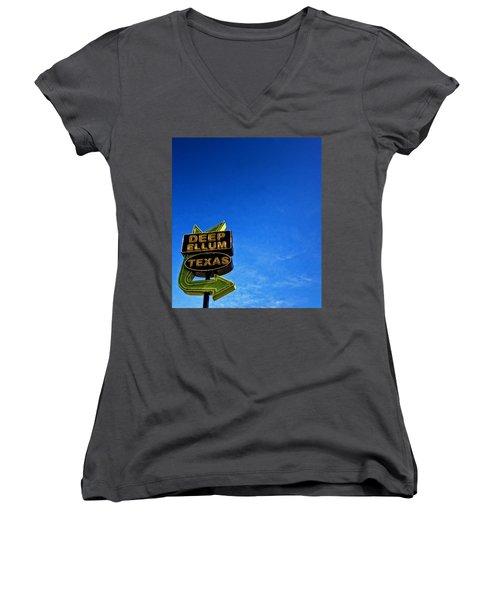 Deep Ellum Women's V-Neck T-Shirt (Junior Cut) by Mark Alder