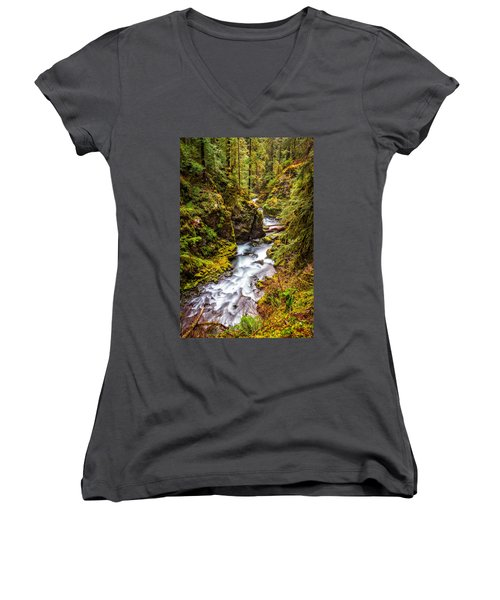 Deep In The Forest Women's V-Neck (Athletic Fit)