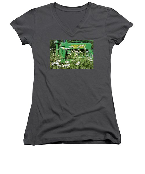 Deere 1 Women's V-Neck T-Shirt (Junior Cut) by Lynn Sprowl