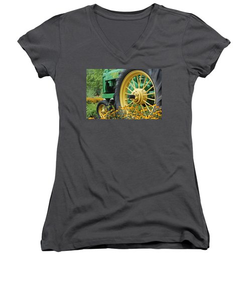 Deere 2 Women's V-Neck T-Shirt (Junior Cut) by Lynn Sprowl