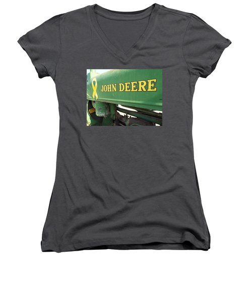 Deere Support Women's V-Neck T-Shirt (Junior Cut) by Caryl J Bohn
