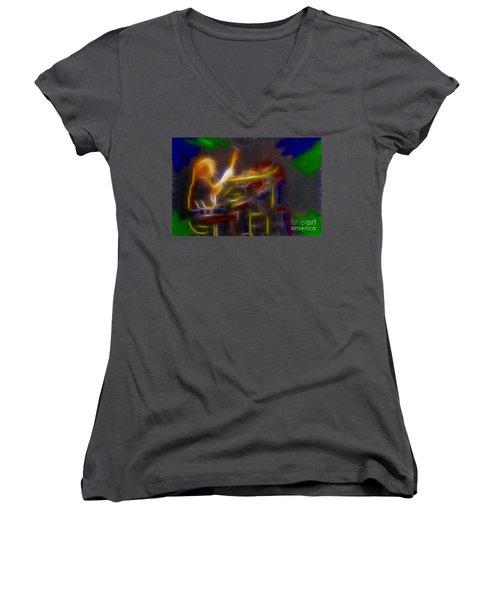 Def Leppard-adrenalize-gf24-ricka-fractal Women's V-Neck T-Shirt (Junior Cut) by Gary Gingrich Galleries