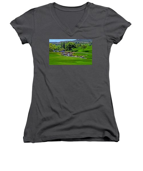 Women's V-Neck T-Shirt (Junior Cut) featuring the painting Del Mar Country Club by Michael Pickett