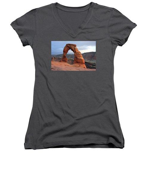 Delicate Arch - Arches National Park - Utah Women's V-Neck T-Shirt (Junior Cut) by Aidan Moran