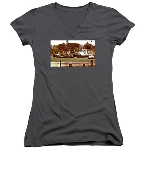 Delta Tug Boats At Work Women's V-Neck