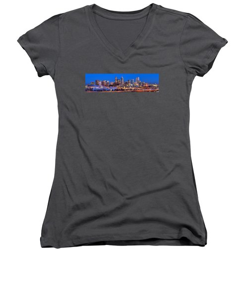 Women's V-Neck T-Shirt (Junior Cut) featuring the photograph Denver Skyline At Dusk Evening Color Evening Extra Wide Panorama Broncos by Jon Holiday
