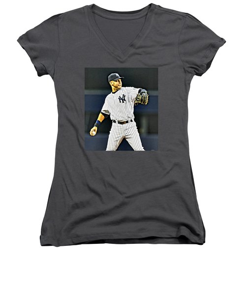 Derek Jeter Women's V-Neck T-Shirt (Junior Cut) by Florian Rodarte