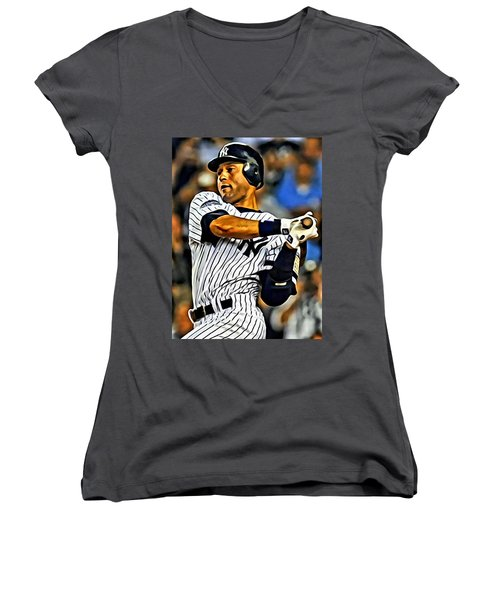 Derek Jeter In Action Women's V-Neck T-Shirt (Junior Cut) by Florian Rodarte