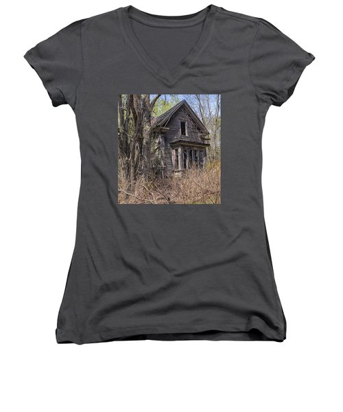 Women's V-Neck T-Shirt (Junior Cut) featuring the photograph Derelict House by Marty Saccone
