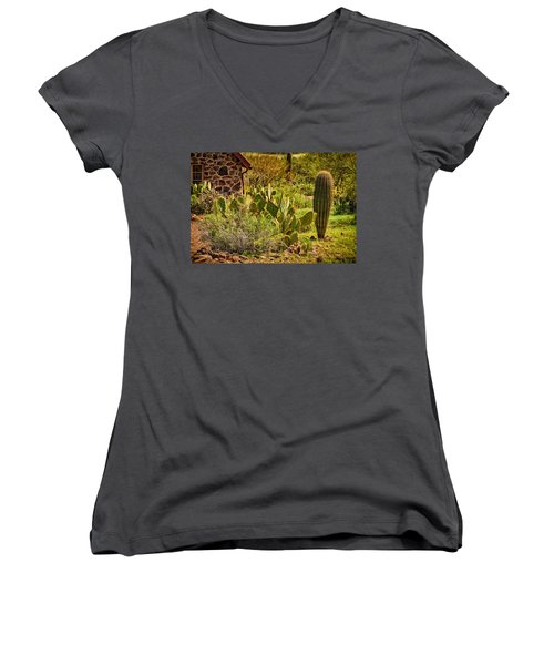Women's V-Neck T-Shirt (Junior Cut) featuring the photograph Desert Dream by Mark Myhaver
