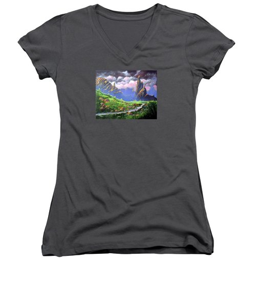 Desert Mountains Women's V-Neck (Athletic Fit)