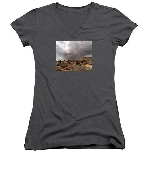 Desert Storm Come'n Women's V-Neck T-Shirt (Junior Cut) by Angela J Wright