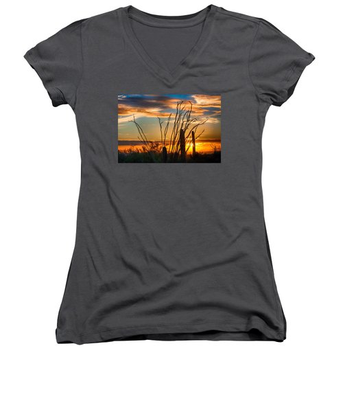 Desert Sunset Women's V-Neck (Athletic Fit)