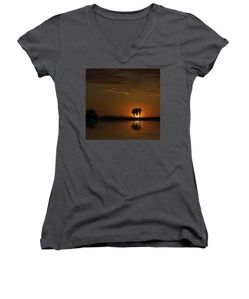 Women's V-Neck T-Shirt (Junior Cut) featuring the photograph Desert Sunset by Lynn Geoffroy
