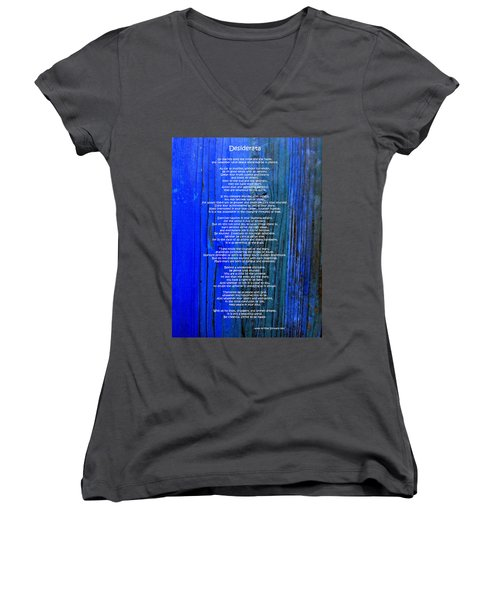 Desiderata On Blue Women's V-Neck T-Shirt (Junior Cut) by Leena Pekkalainen