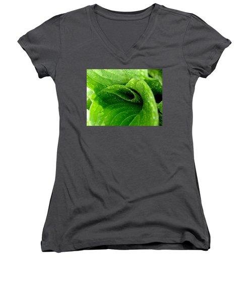 Dew Drops Women's V-Neck T-Shirt (Junior Cut) by Lisa Phillips