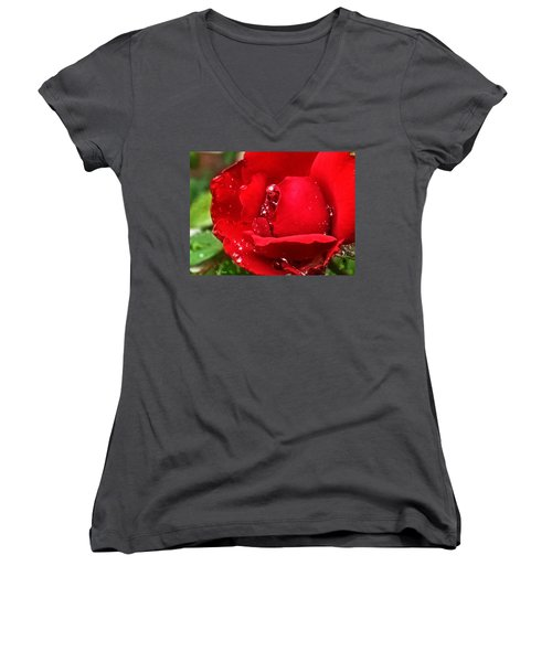 Dew Drops On Red Women's V-Neck (Athletic Fit)