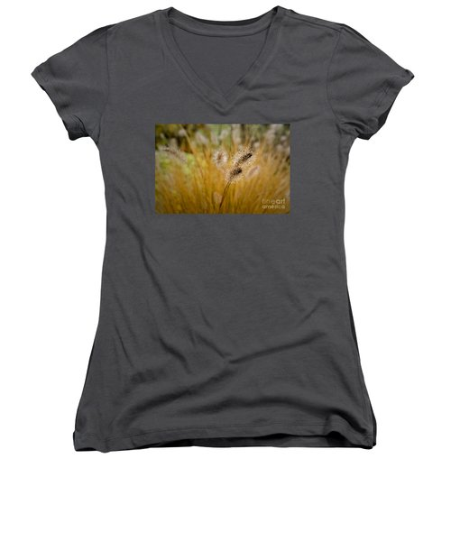 Dew On Ornamental Grass No. 4 Women's V-Neck (Athletic Fit)