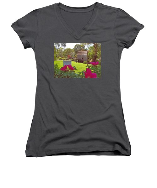 Women's V-Neck T-Shirt (Junior Cut) featuring the photograph Dexters Grist Mill Two by Barbara McDevitt
