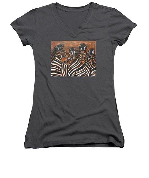 Zebra Bar Crowd Women's V-Neck T-Shirt (Junior Cut) by Diane Pape