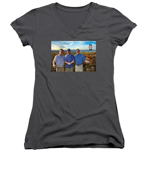 Women's V-Neck T-Shirt (Junior Cut) featuring the painting Diamante Golf by Tim Gilliland