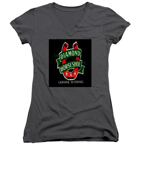 Women's V-Neck T-Shirt (Junior Cut) featuring the digital art Diamond Horseshoe by Cathy Anderson