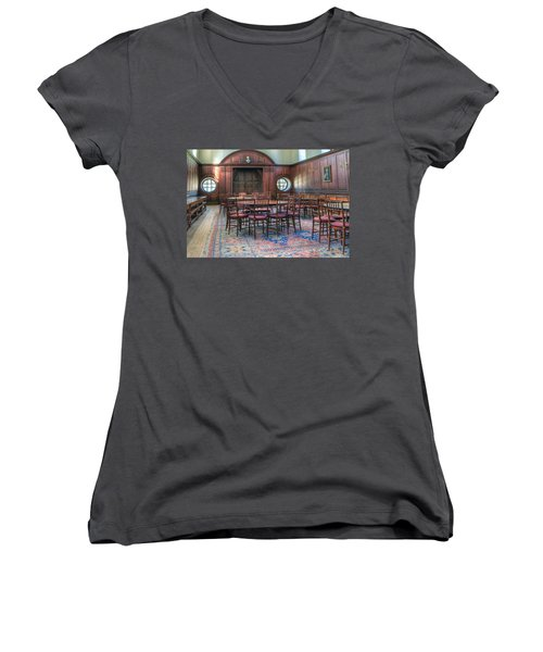 Women's V-Neck T-Shirt (Junior Cut) featuring the photograph Dining Hall Wren Building by Jerry Gammon
