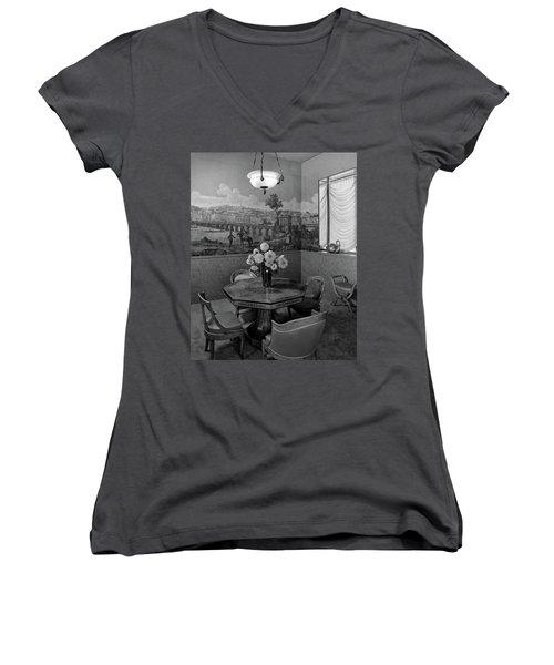 Dining Room In Helena Rubinstein's Home Women's V-Neck