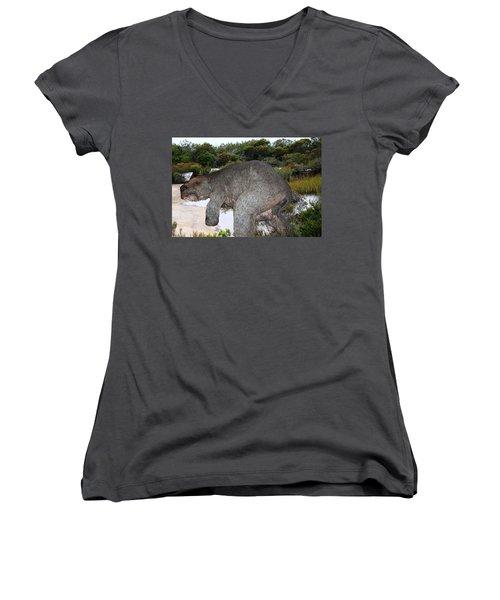 Women's V-Neck T-Shirt (Junior Cut) featuring the photograph Diprotodon by Miroslava Jurcik