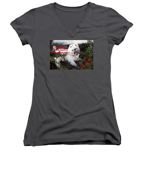 Dirty Dog Christmas Card Women's V-Neck (Athletic Fit)
