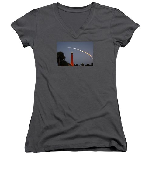 Discovery Booster Separation Over Ponce Inlet Lighthouse Women's V-Neck T-Shirt (Junior Cut) by Paul Rebmann