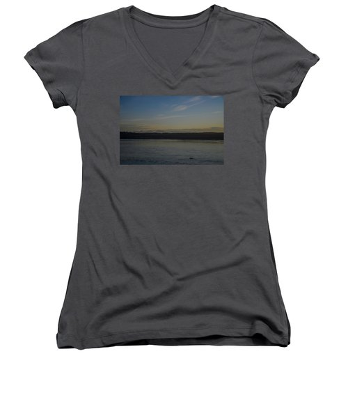 Women's V-Neck featuring the photograph First Light Discovery Passage by Roxy Hurtubise