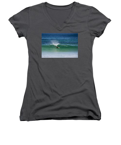 Diving Beneath The Curl Women's V-Neck (Athletic Fit)