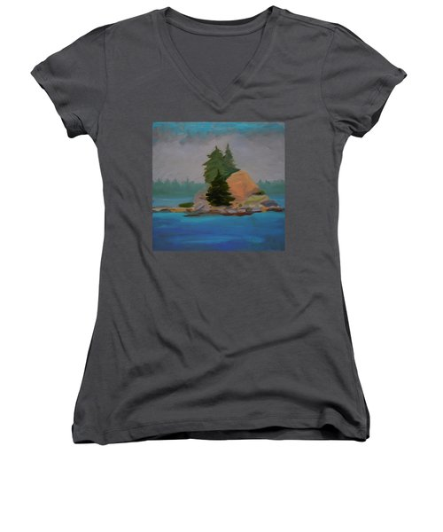 Women's V-Neck T-Shirt (Junior Cut) featuring the painting Pork Of Junk by Francine Frank