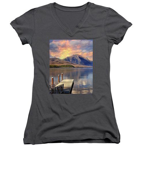 Women's V-Neck T-Shirt (Junior Cut) featuring the photograph Dock On Lake Mcdonald by Marty Koch