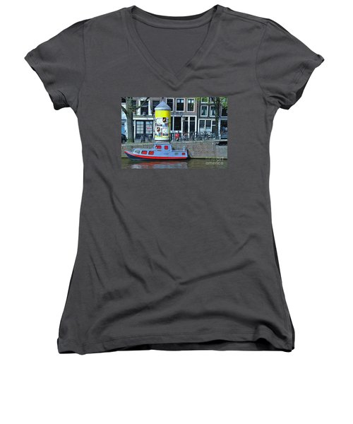 Women's V-Neck T-Shirt (Junior Cut) featuring the photograph Docked In Amsterdam by Allen Beatty