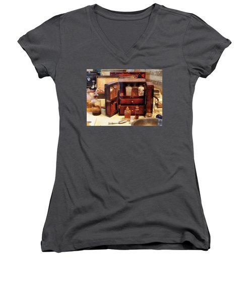 Women's V-Neck T-Shirt (Junior Cut) featuring the photograph Doctor - Case With Medicine Bottles by Susan Savad