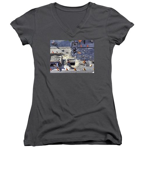 Dog Daze Women's V-Neck T-Shirt (Junior Cut) by Steve Sahm