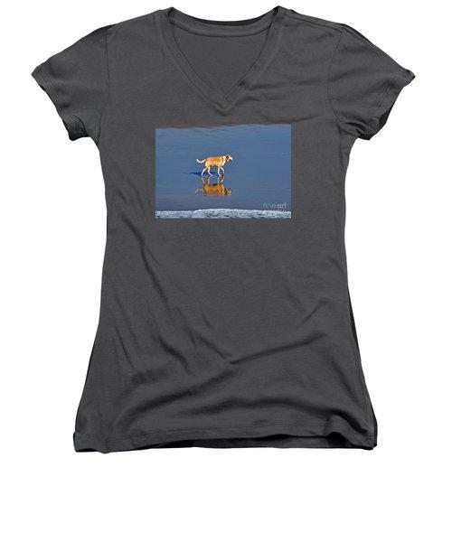 Dog On Water Mirror Women's V-Neck T-Shirt (Junior Cut)